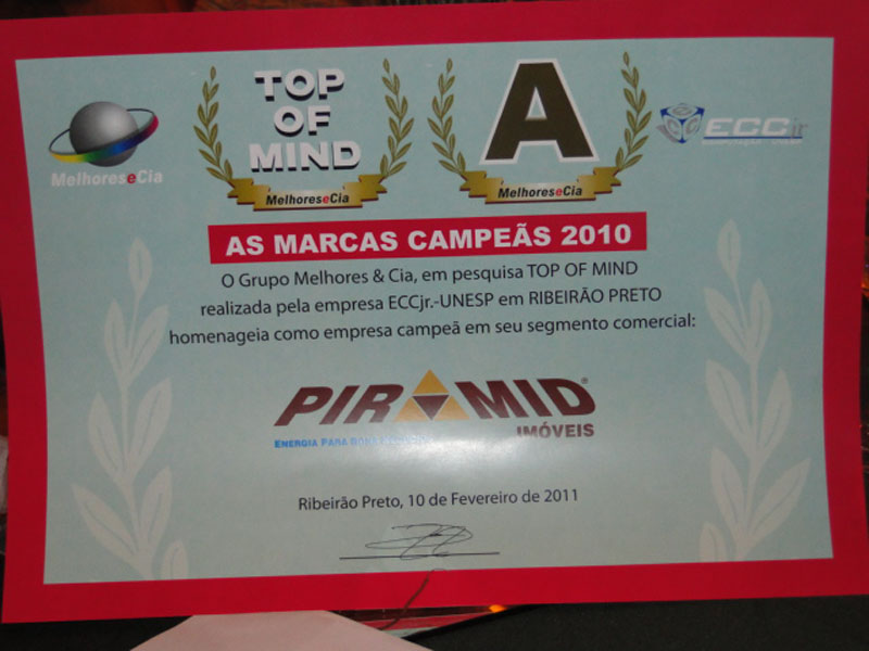 Galeria de fotos de Top Of Mind 2.010 -     1º lugar pelo 4º ano consecutivo